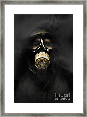 Soldier In Gas Mask Framed Print by Jorgo Photography - Wall Art Gallery