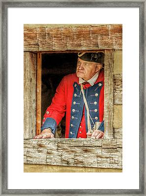 Soldier In The Window Framed Print by Randy Steele
