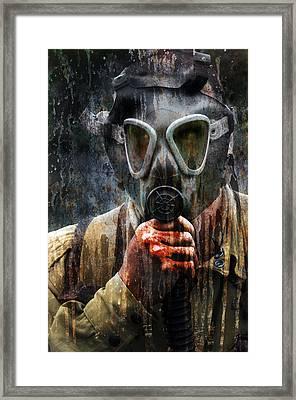Soldier In World War 2 Gas Mask Framed Print by Jill Battaglia