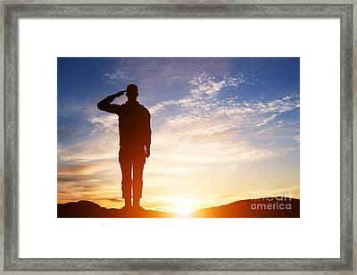 Soldier Salute Framed Print by Michal Bednarek
