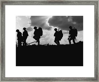 Soldier Silhouettes - Battle Of Broodseinde  Framed Print by War Is Hell Store
