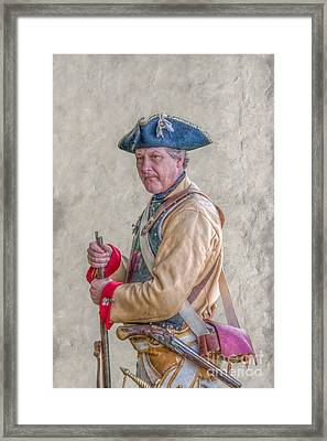 Soldier With Musket And Pistol Penns Colony Framed Print