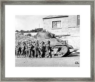 Soldiers And Their Tank Advance Framed Print