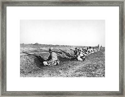Soldiers At Tientsin Beseiged Framed Print by Underwood Archives