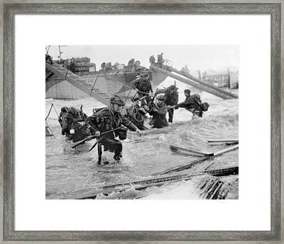 Soldiers Disembarking From Landing Craft At Ouistreham And Bernieres In The St Aubin Sector On 6th J Framed Print by English School