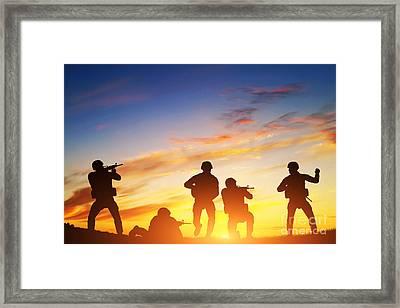 Soldiers In Assault Framed Print by Michal Bednarek