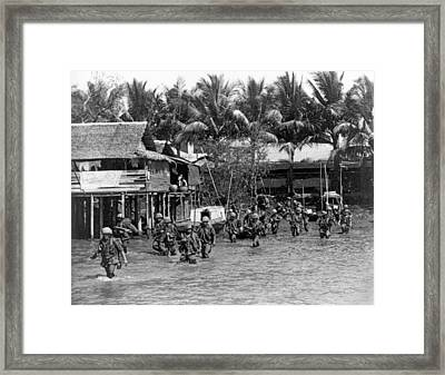 Soldiers In The Mekong Delta Framed Print by Underwood Archives