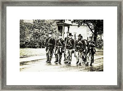 Soldiers Marching In Parade Framed Print