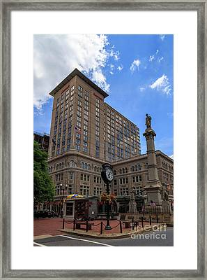 Soldiers Monument In Penn Square In Lancaster Framed Print