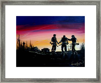 Soldiers Pray II Framed Print by Randall Easterling