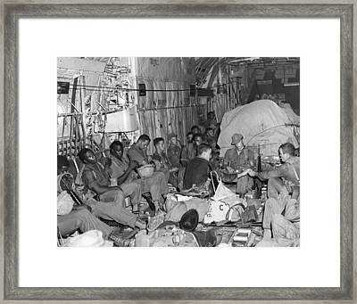 Soldiers To Battle Framed Print by Underwood Archives