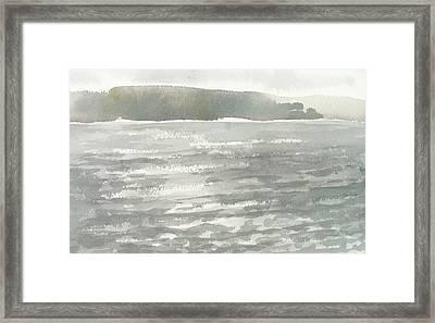 Soldis Over Glittrande Fjord - Sunlit Haze Over Glittering Water_0023 76x48cm Framed Print