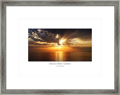 Framed Print featuring the digital art Soleil D'or - Corfu by Julian Perry