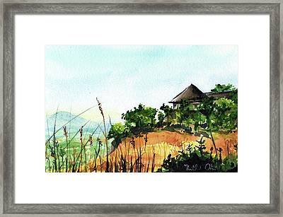 Framed Print featuring the painting Solitary Cottage In Malawi by Dora Hathazi Mendes