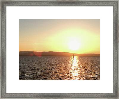 Solitary Sailboat Framed Print by Felipe Adan Lerma