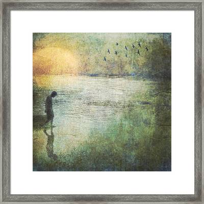 Solitary--walking In Water Framed Print