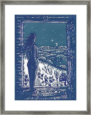 Framed Print featuring the drawing Solitude by Dawn Senior-Trask