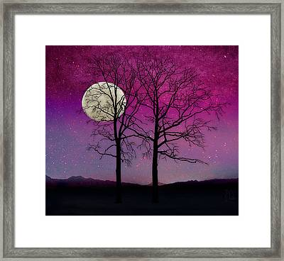 Solitude II Harvest Moon, Pink Opal Sky Stars Framed Print by Tina Lavoie
