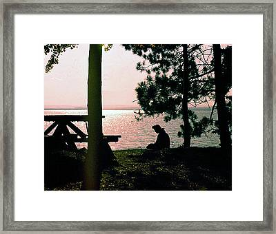 Solitude On A Golden Lake Framed Print by George Cousins