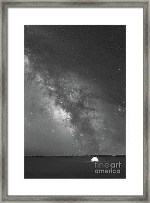 Solitude Under The Galaxy Bw Framed Print by Michael Ver Sprill