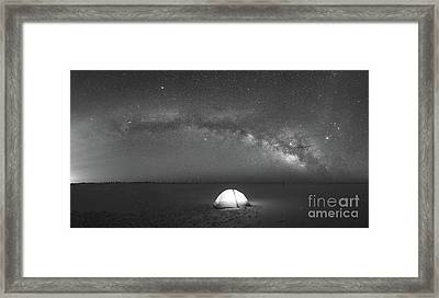 Solitude Under The Stars Pano Bw Framed Print by Michael Ver Sprill