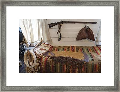 Some Genuine Old West Articles Displayed Inside A Bunkhouse  Framed Print by Carol M Highsmith