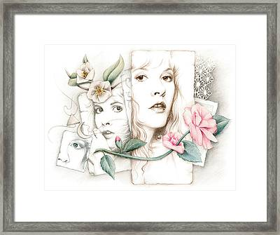 Some Lace And Paper Flowers Framed Print by Johanna Pieterman