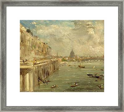 Somerset House Terrace From Waterloo Bridge Framed Print by John Constable