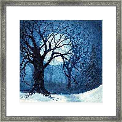 Something In The Air Tonight - Winter Moonlight Forest Framed Print by Janine Riley