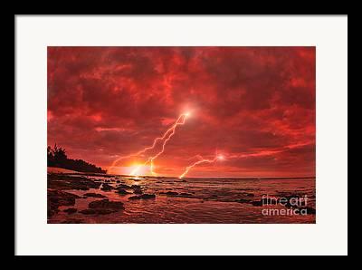 Lightning Strike Framed Prints