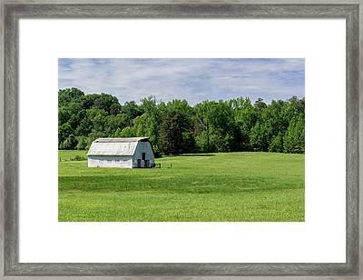 Barn In Green Pasture Framed Print