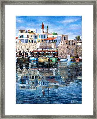 Somewhere In The Mediterranean Framed Print