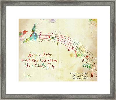 Framed Print featuring the digital art Somewhere Over The Rainbow Adrian And Claire by Nikki Marie Smith