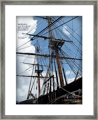 Son Of A Son Of A Sailor Quote - Tribute To The Bounty Framed Print by Joan  Minchak