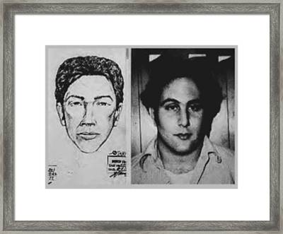 Son Of Sam David Berkowitz Mug Shot And Police Sketch Framed Print by Tony Rubino