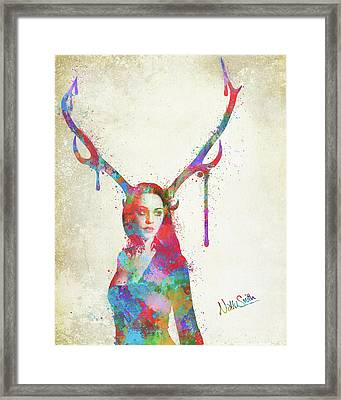 Song Of Elen Of The Ways Antlered Goddess Framed Print by Nikki Marie Smith