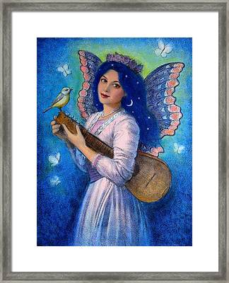 Songbird For A Blue Muse Framed Print by Sue Halstenberg