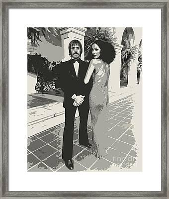 Sonny Bono And Cher  Framed Print