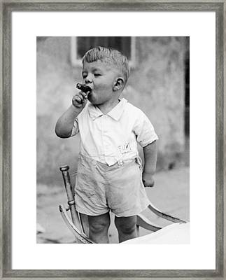 Sonny Smokes A Cigar Framed Print