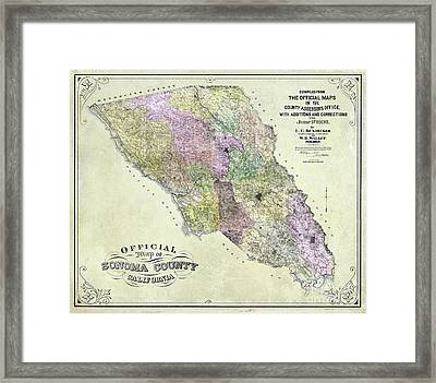 Sonoma County Map 1900 Framed Print by Jon Neidert