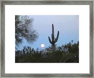 Sonoran Desert Moonset Framed Print