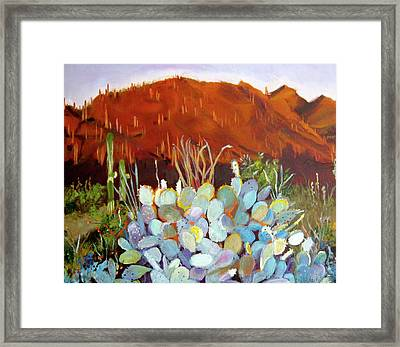 Framed Print featuring the painting Sonoran Sunset by Julie Todd-Cundiff