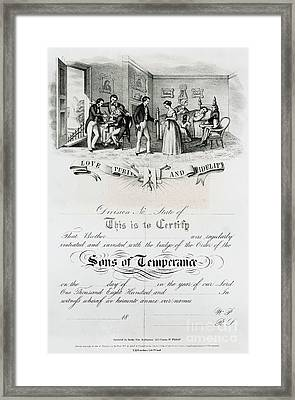 Sons Of Temperance Certificate Framed Print by Photo Researchers