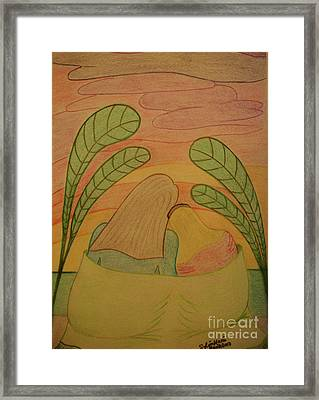Soothing Sunset - Mother And Daughter Bask In The Moment Leaning Heads Together-drawing Framed Print by Sylvie Marie
