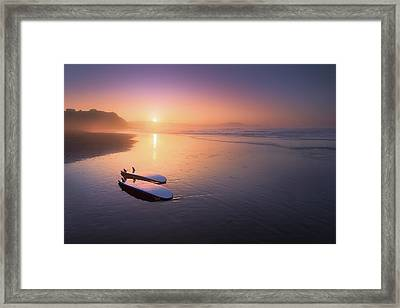 Sopelana Beach With Surfboards On The Shore Framed Print by Mikel Martinez de Osaba