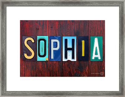 Sophia License Plate Lettering Name Sign Art Framed Print