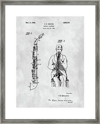 Soprano Saxophone Patent Framed Print