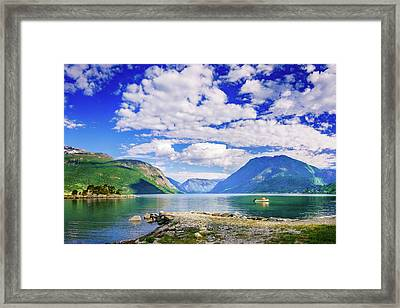 Framed Print featuring the photograph Soreimsfjorden by Dmytro Korol