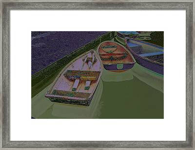 Framed Print featuring the photograph Sorrento Harbor Boats With Sabattier by Bill Barber