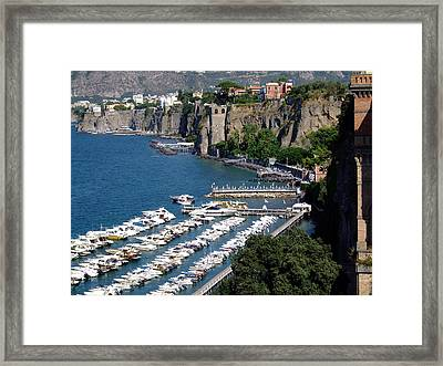 Sorrento Seaport Framed Print by Mindy Newman